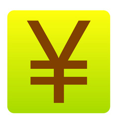 Yen sign brown icon at green-yellow vector