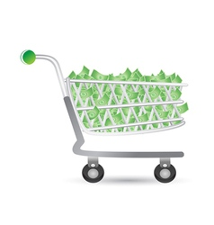 Shopping cart filled with money vector