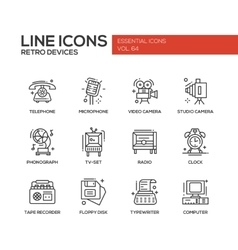 Retro Devices - line design icons set vector image
