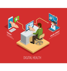 Digital online medical care isometric template vector