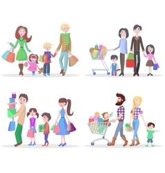 Happy family buying goods and gifts in stores vector