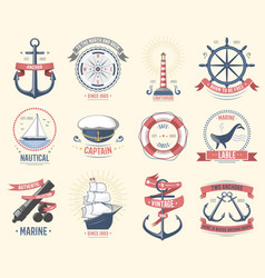Fashion nautical logo sailing themed label or icon vector