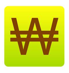 won sign brown icon at green-yellow vector image