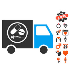 Drugstore truck icon with valentine bonus vector