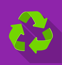 Green recycling sign icon in outline style vector