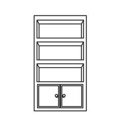 bookcase furniture wooden bookcase outline vector image