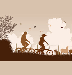 weekend cyclists vector image