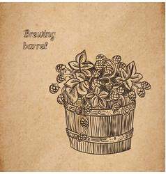 hop barrel engraving vector image