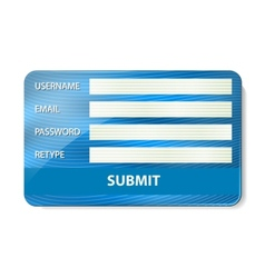 Registration form on credit card vector