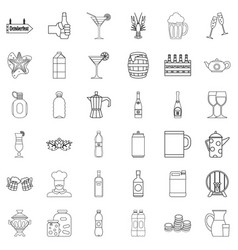 Alcohol icons set outline style vector