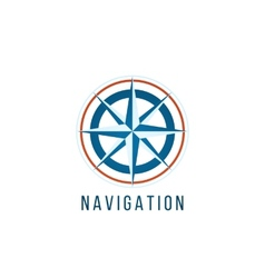Navigation logo template with compass vector