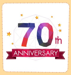 Colorful polygonal anniversary logo 2 070 vector
