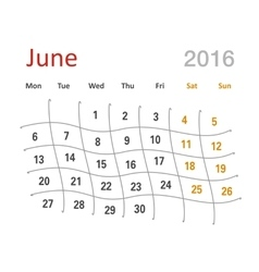 June 2016 calendar funny grid vector