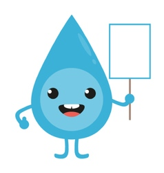 Cartoon water drop character with blank sign vector