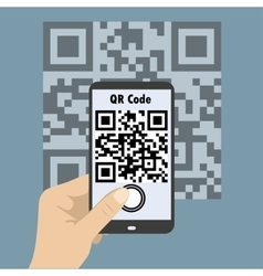 Smartphone concept with a qr code scanning vector