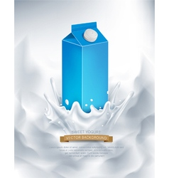 Milk packaging of blue splash in milk vector