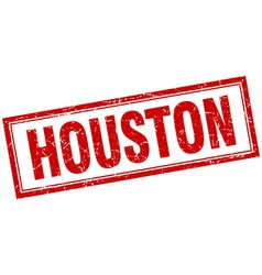 Houston red square grunge stamp on white vector