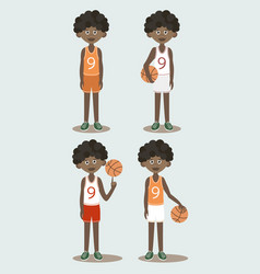 Basketball players set vector