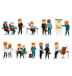 Business cat cartoon icons set vector