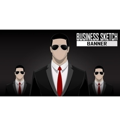business team standing over dark background vector image vector image