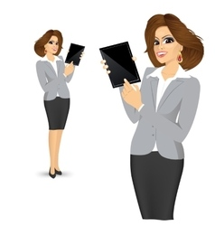 Businesswoman showing blank tablet vector