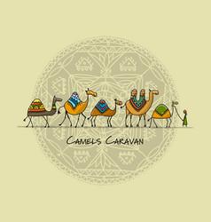 Camels caravan sketch for your design vector