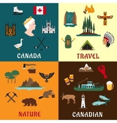 Canadian travel and nature flat icons vector