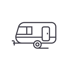 caravan line icon sign on vector image
