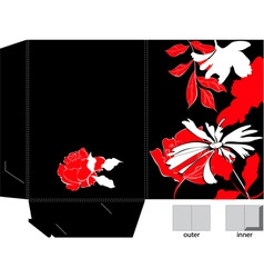 decorative folder with floral element vector image vector image
