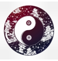 Drawing of a night sky with yin yang boho symbol vector