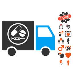 Drugstore truck icon with valentine bonus vector