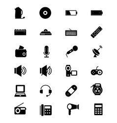 Electronics solid icons 3 vector