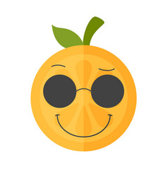 Emoji - cool orange with sunglasses isolated vector