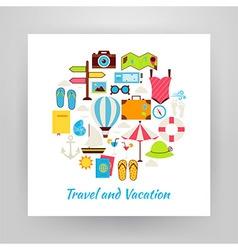 Flat Style Circle Set of Summer Vacation and vector image vector image