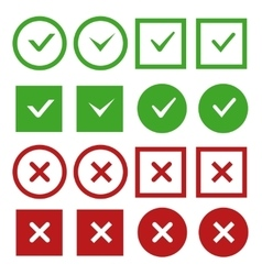 Green check marks and red crosses buttons vector