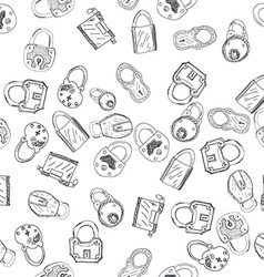 Hand Drawn Padlocks Background Seamless Pattern vector image