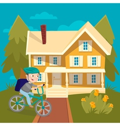 Happy Boy Riding Bicycle near the House Summer vector image vector image