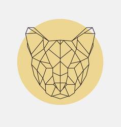 head of wild cat puma geometric style vector image vector image