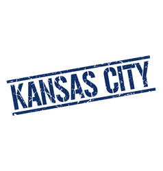 Kansas city blue square stamp vector