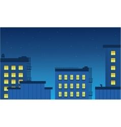 Landscape builsing and light at night vetcor vector image