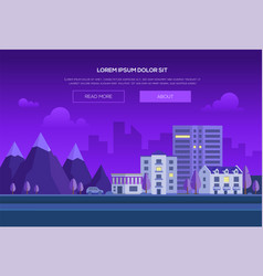 Night city by the mountains - modern vector