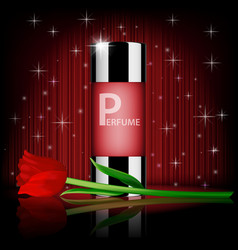 Romantic cosmetic set rose perfume contained with vector