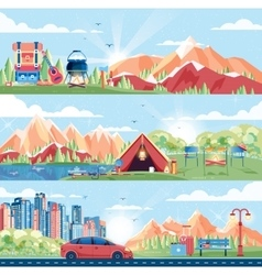 Set of day landscape mountains dawn vector