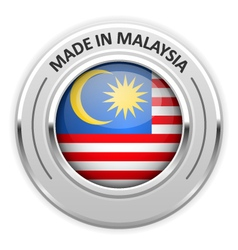 Silver medal made in malaysia with flag vector