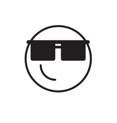 Smiling cartoon face wear sun glasses positive vector