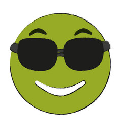 Smiling sunglasses emoji icon image vector