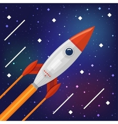 Space rocket flying through the Cosmos vector image vector image