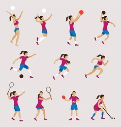 Sports Athletes Women Set vector image vector image