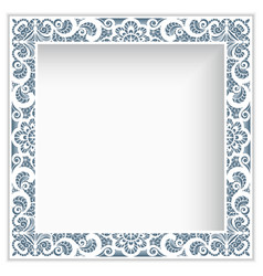 Square photo frame with lace border pattern vector
