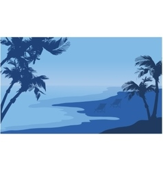 Summer holiday seaside scnery silhouette vector image vector image